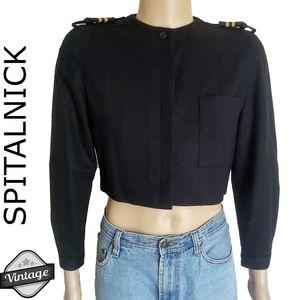 Vintage 80s Spitalnick Cropped Military Blazer